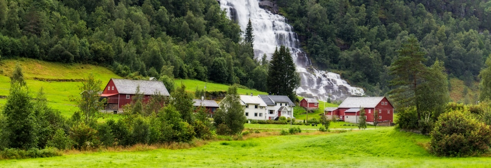 The small village of Tvindefossen in Voss, Norway