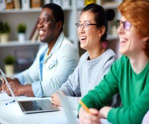 Adult learners enjoying a class