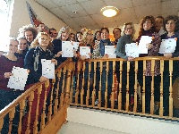 Ballybeen Erasmus+ project students with certificates