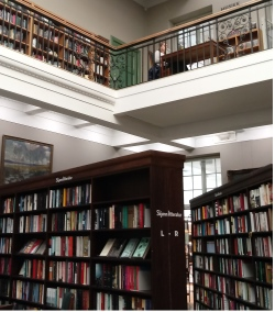 Bergen library interior showing the first and second floors