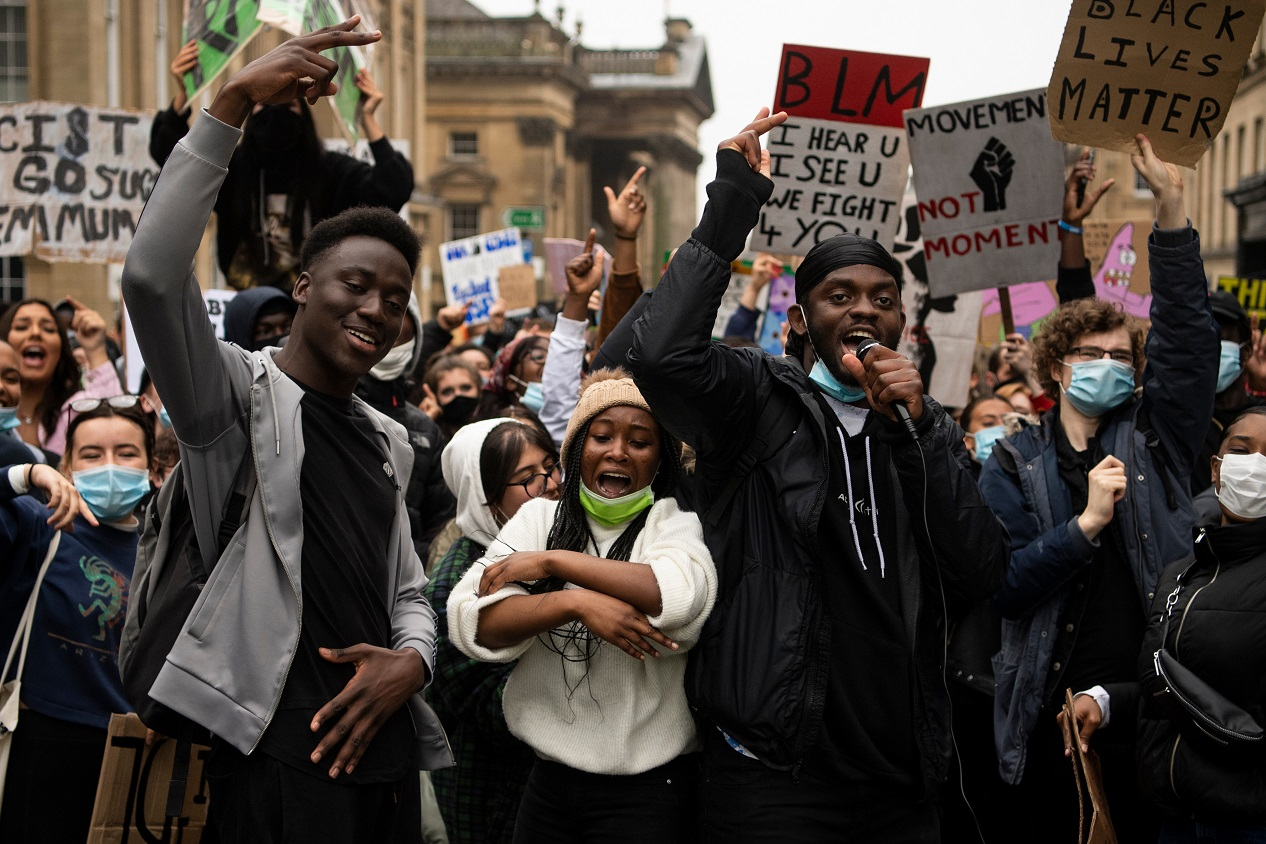 Newcastle Upon Tyne / UK - June 14th 2020: Black Lives Matter protests take place on the streets of Newcastle Upon Tyne