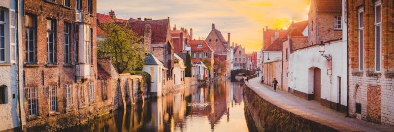 Bruges in Belgium at sunrise