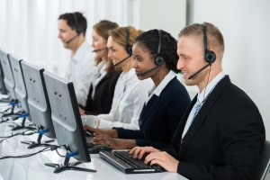 Call centre operatives at work