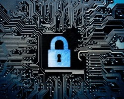 Padlock surrounded by computer circuit board
