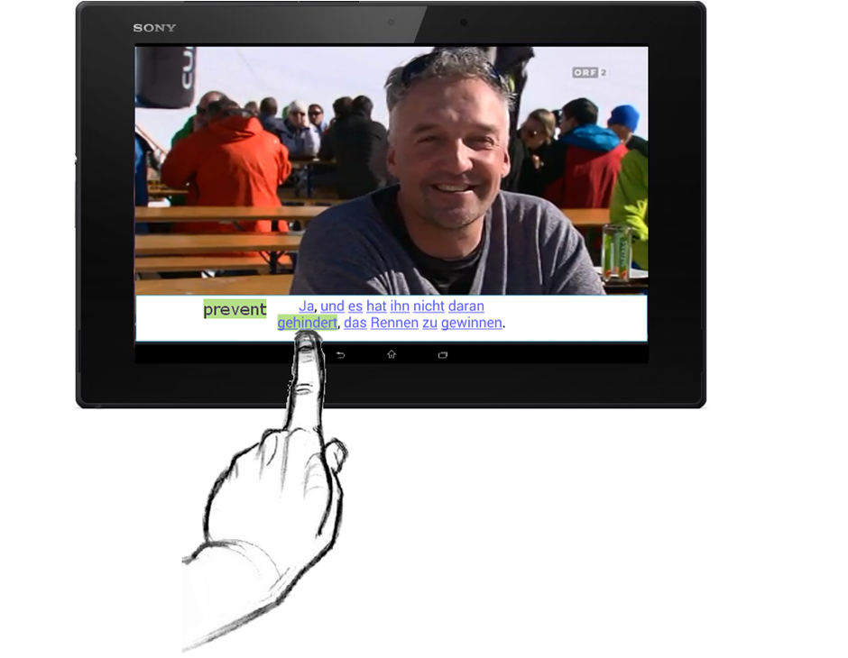 tablet con video sottotitolato
