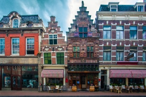 Traditional Dutch houses on a street in the city of Dordrecht