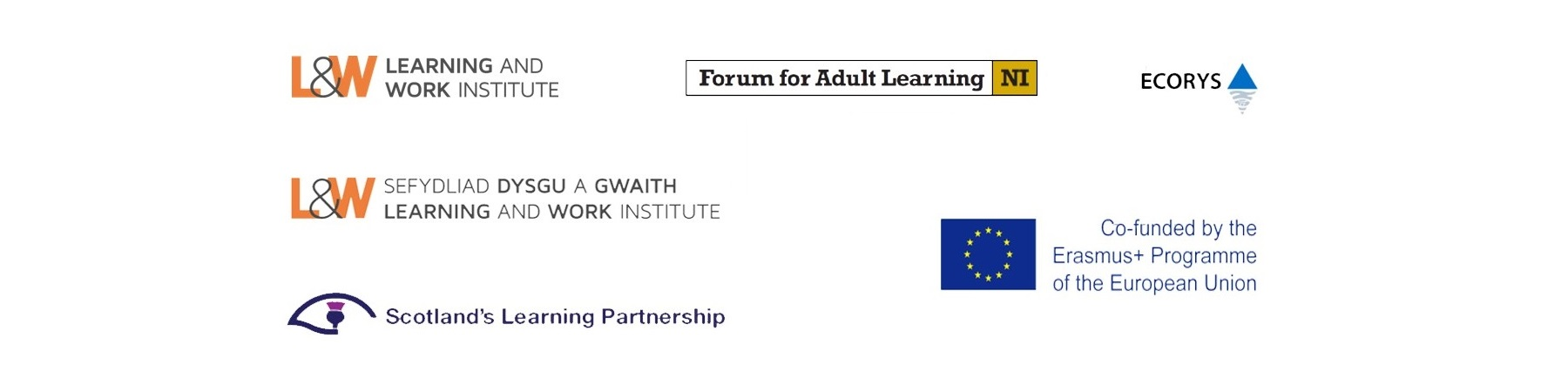 Institute for Learning and Work, Learning and Work | Sefydliad Dysgu a Gwaith, Scotland's Learning Partnership, Forum for Adult Learning NI, Ecorys, Co-funded by the Erasmus+ Programme of the European Union