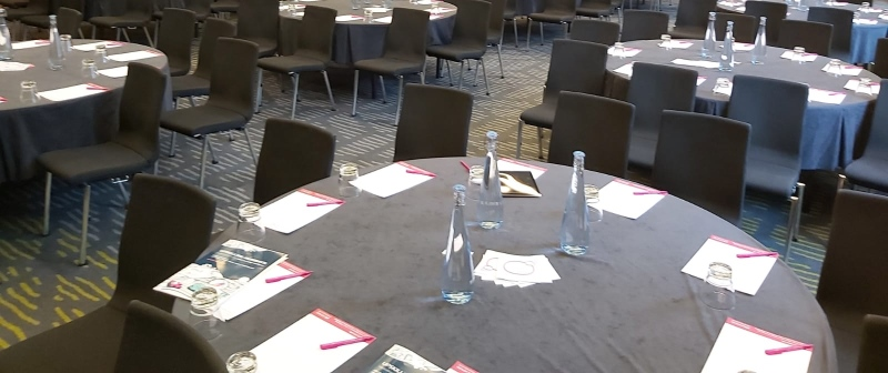 Plenary session tables before delegates arrive