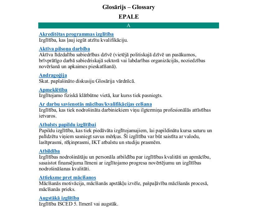 EPALE glosārija tulkojums latviski