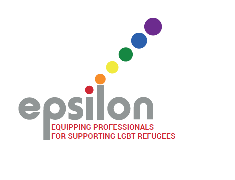 "The Epsilon logo with the caption ""Equipping professionals for supporting LGBT refugees""."