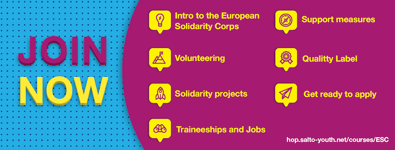 JOIN NOW - this graphic lists the 7 units of the European Solidarity Corps online course