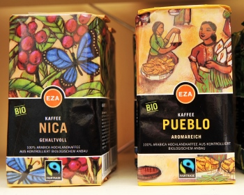 Fairtrade coffee in a European store