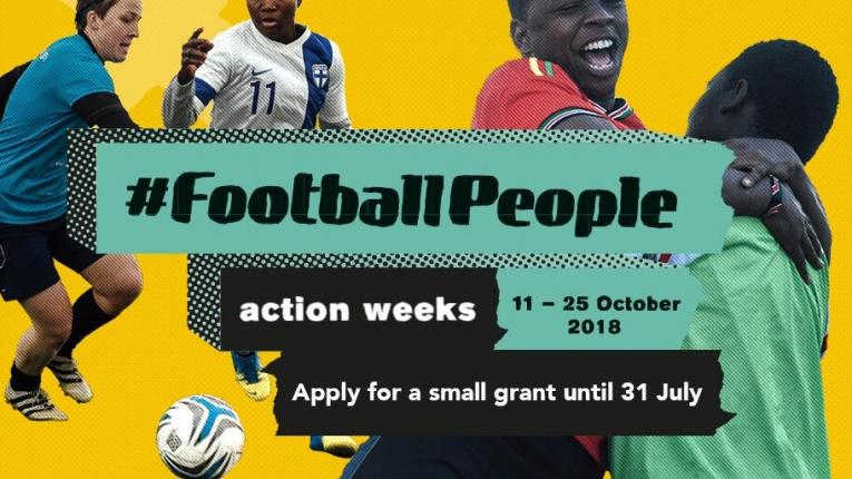 Fare Network #FootballPeople action weeks of 11-25 October Apply for a small grant before 31 July 2018 promotional image