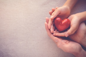 Pairs of adult and child's hands on top of each other, open and holding a heart