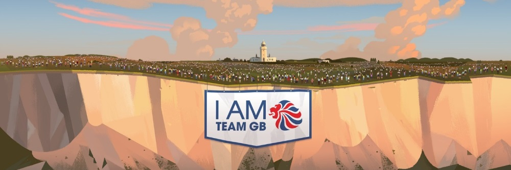 I am Team GB logo with illustration of people on top of a cliff in the background