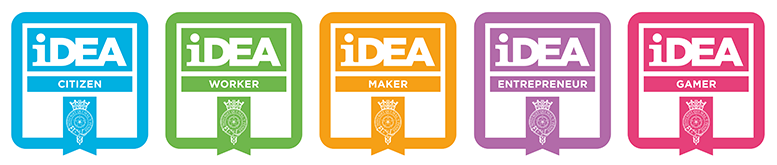 Badges available from The Duke of York Inspiring Digital Enterprise Award (iDEA): Citizen, Worker, Maker, Entrepreneur, Gamer