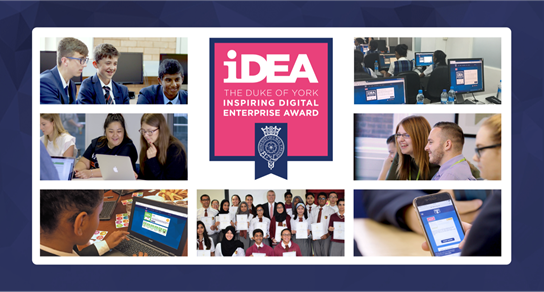 The Duke of York Inspiring Digital Enterprise Award (iDEA) logo with photos of learners surrounding it