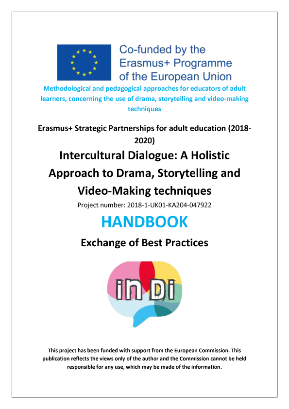 "The front cover of the""Intercultural Dialogue: A Holistic Approach to Drama, Storytelling and Video Making Techniques"" Erasmus+ KA2 project handbook"