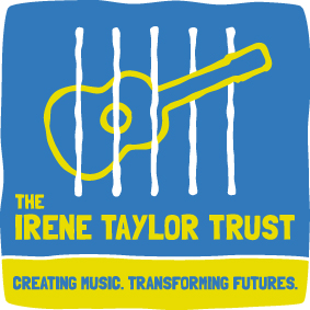 Logo for the Irene Taylor Trust - a hand-drawn guitar behind bars