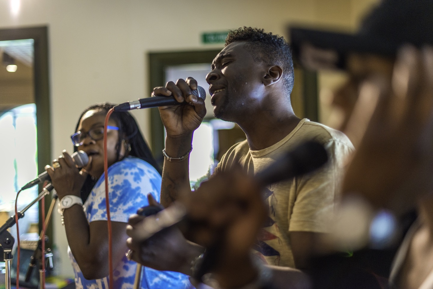 A photo of people singing for an Irene Taylor Trust music project
