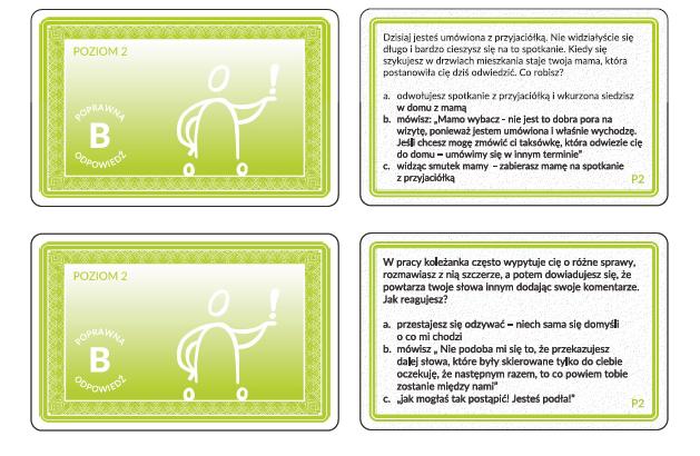 Przykład kart gry Trening rozmowy