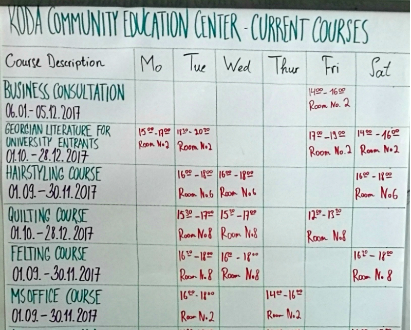 Koda Centre Timetable