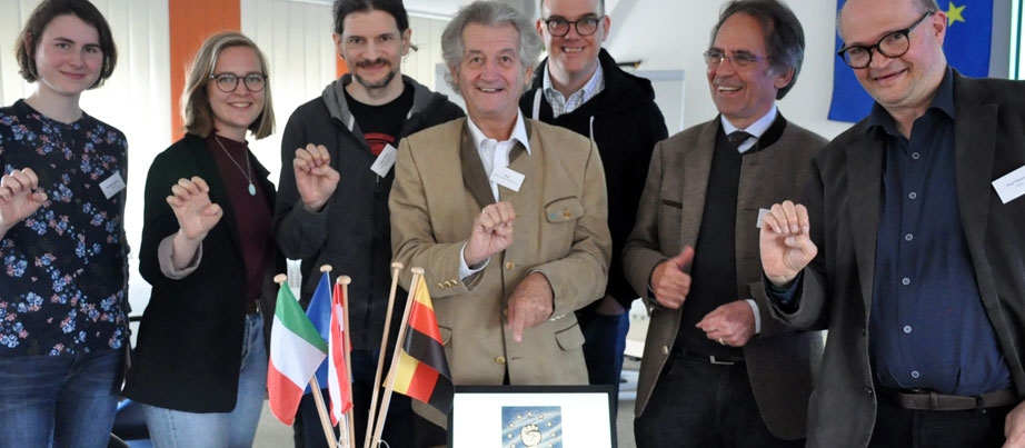 Partnertreffen des Projektes in Freising, v.l.n.r.: Veronika Krylova, Anika Loidl, Lukas Huber, Rudolf Sailer, Siegfried Bachmayer, Christian Schönbeck, Paul Steixner.