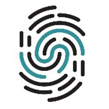 The Learning Together network logo which looks like a fingerprint in black and blue