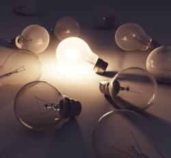 Lightbulbs with one illuminated