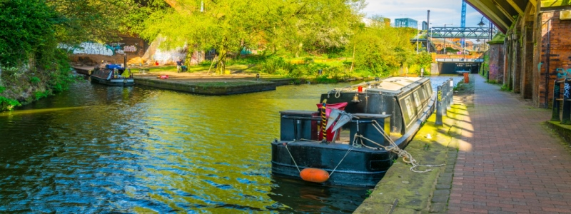 Canal boat on canal in Rochdale, Manchester