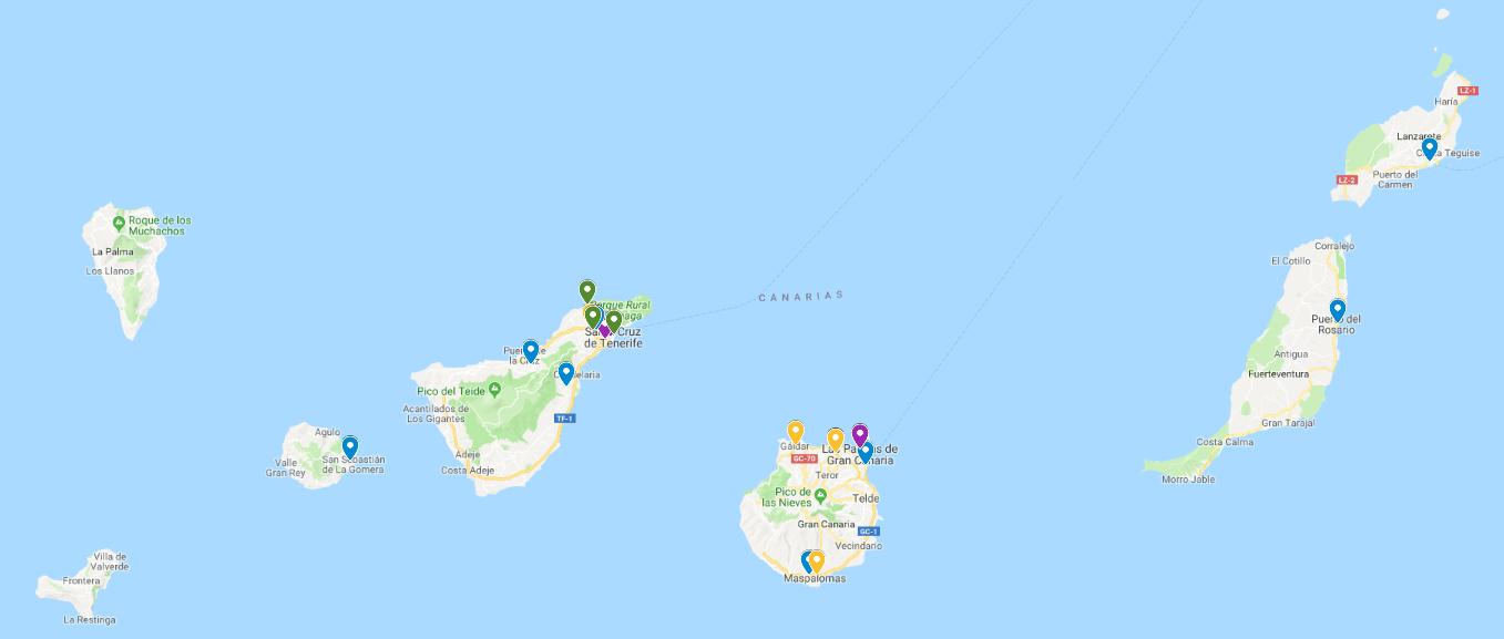 Mapa de los centros con proyectos europeos en Canarias