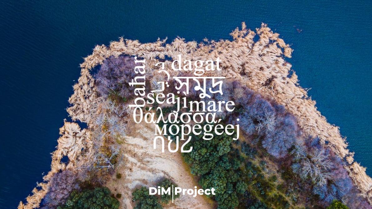 immagine del mare con sopra scritta la parola mare in diverse lingue