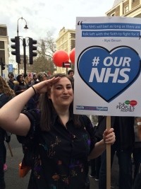 Melissa Smith on an NHS political march