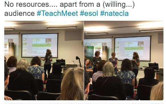 Photo of presenters during the NATECLA 2018 annual conference's Teachmeet session.