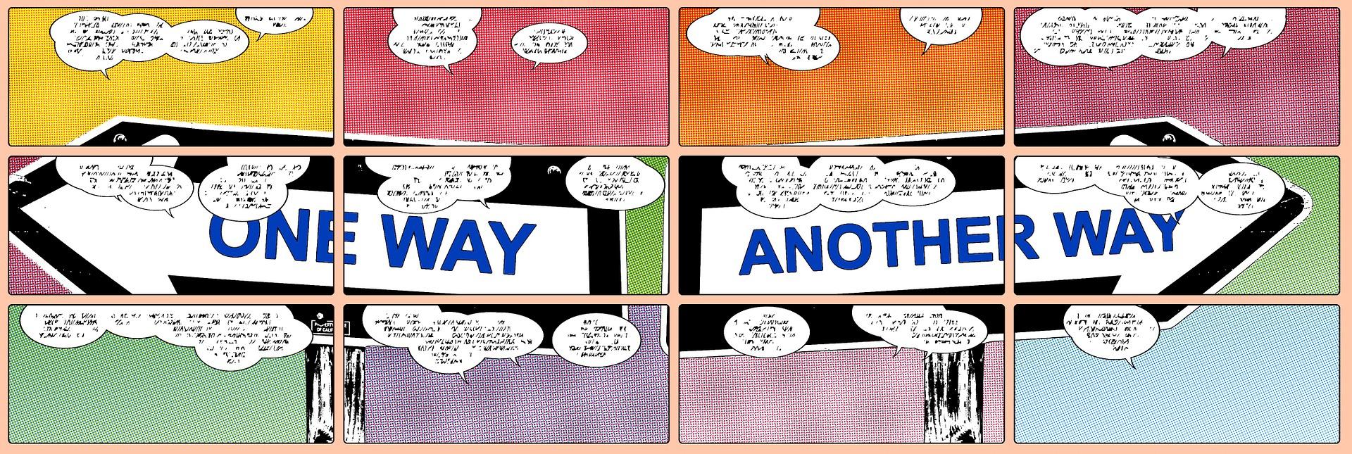 Die Comicseite zeigt verschiedene Wegweiser