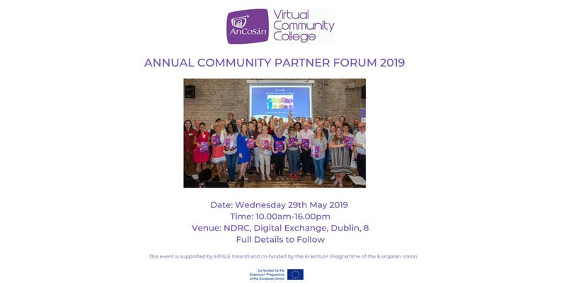 Promotional image for 'Annual An Cosán VCC Community Partner Forum' on Wednesday 29th May 2019