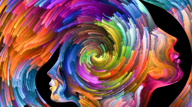 Outlines of two human heads with swirling colours