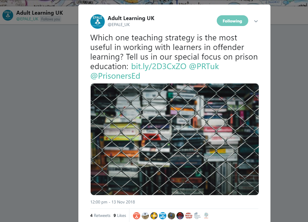 """Tweet from @EPALE_UK on 13 November 2018: """"Which one teaching strategy is the most useful in working with learners in offender learning? Tell us in our special focus on prison education"""""""