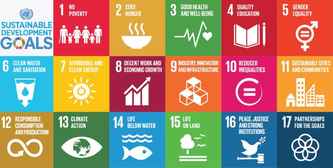 17 obiettivi di sostenibilità in 17 quadrati colorati