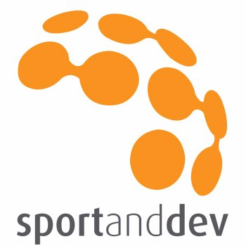The logo for sportanddev.org, which is a half-globe represented as connected orange dots