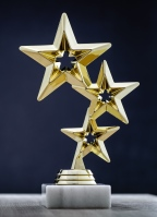 A trophy with three gold stars