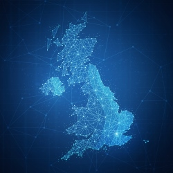 Map of the UK with a starry night effect
