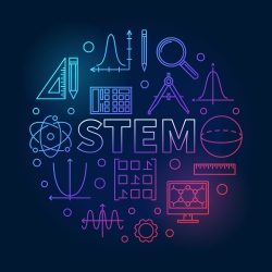 STEM acronym surrounded by scientific images