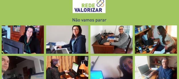 Imagem de elementos da equipa da Rede Valorizar, em trabalho à distância