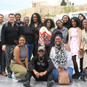 A group photo of Sankofa Intergenerational Learning Hub participants in Athens, Greece