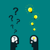 Das Bild zeigt zwei stilisierte Köpfe. Aus dem rechten Kopf steigen leuchtende Glühlampen hinauf, aus dem linken Kopf Fragezeichen.