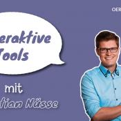"""Das Bild zeigt einen Mann, der auf seinen Bizeps zeigt, neben ihm prangt der Schriftzug """"Interaktive Tools mit Sebastian Nüsse"""""""