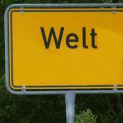 Ortsschild Welt in Nordfriesland