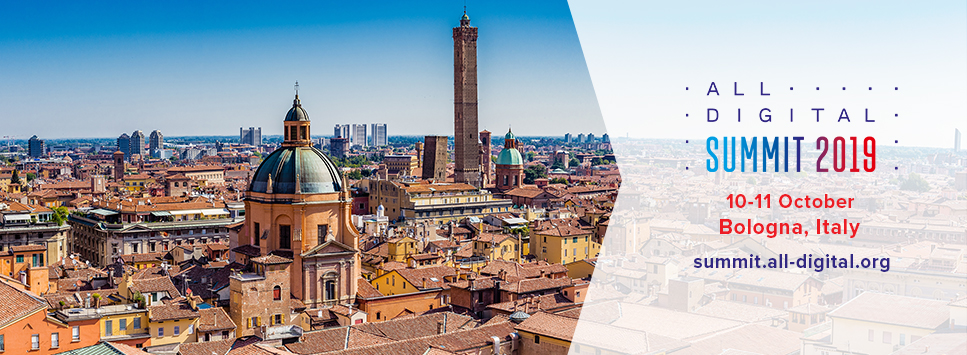 View of Bologna with the ALL DIGITAL Summit logo and dates