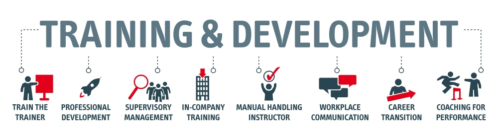 Training & Development written with icons surrounding